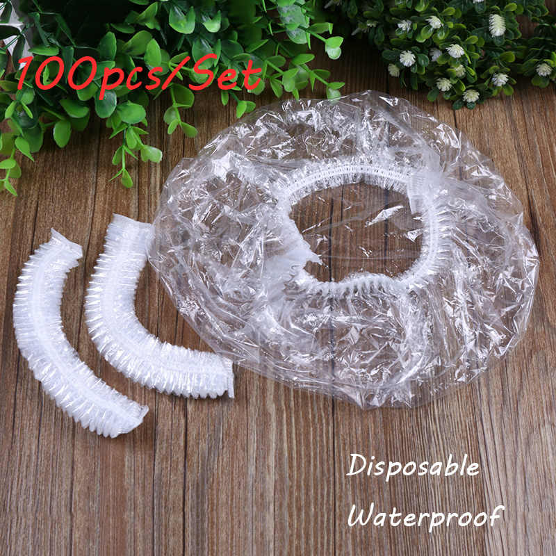 100 adet/torba Yeni Elastik Şeffaf One-off Su Geçirmez Duş Başlığı Banyo Salon Spa Şapka Tek Kullanımlık Banyo Şapka Saç Bakımı