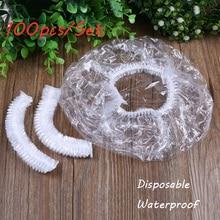100pcs/Bag New Elastic Transparent One-off Waterproof Shower Cap Bathing Salon Spa Hat Disposable Bathroom Hat Hair Care