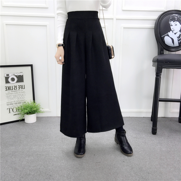 ZHISILAO Loose Trousers Women Winter Warm Wool Wide Leg Pants Maxi Plaid High Waist Trousers Elastic Thick Black Pants Casual 21