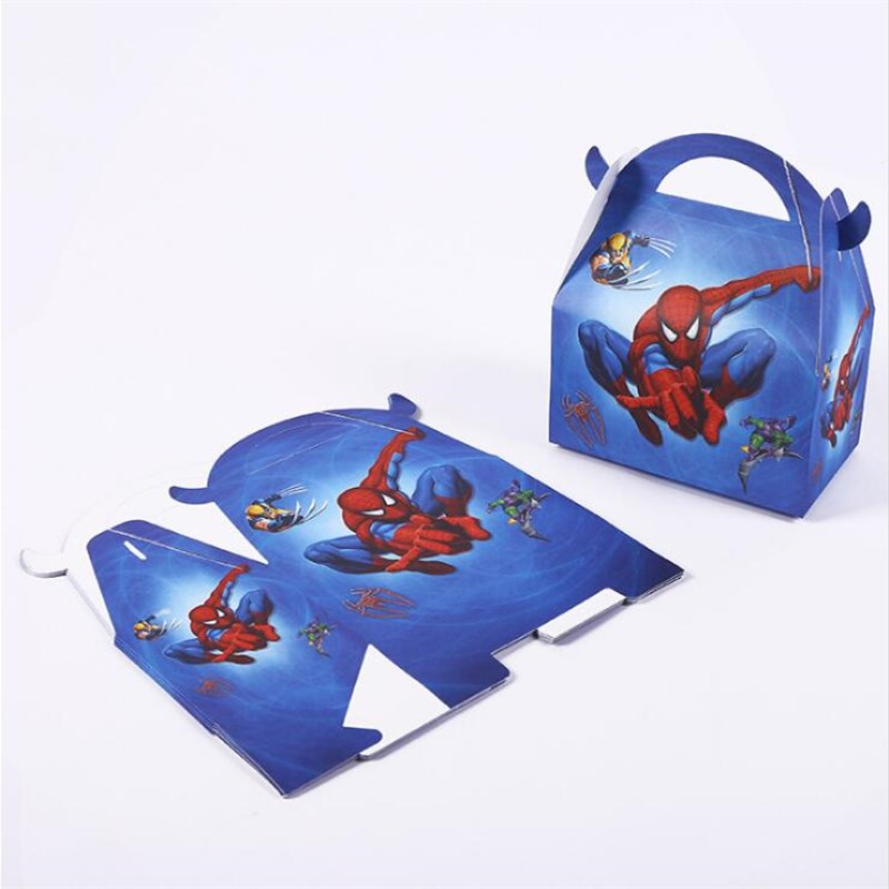 6pcs/lot Candy Box Cake Box For Kids Hero Spiderman Theme Party Baby Shower Birthday Party Decoration Party Favor Supplies