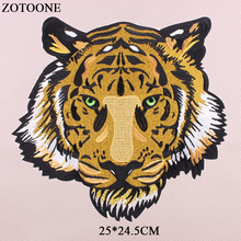 ZOTOONE Tiger Patch Iron On Big Animal Patches For Clothes Embroidery Badges Accessory Appliques Stripe Cloth G