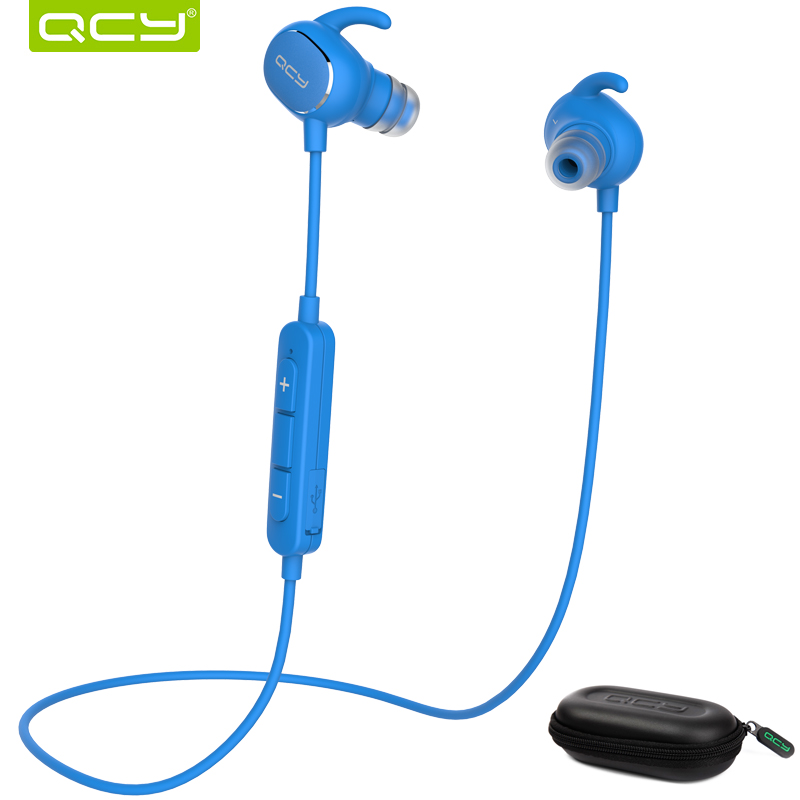 QCY QY19 Sports Bluetooth earphone fast charge stereo wireless headset with mic and portable storage box for Iphone,Xiaomi 3