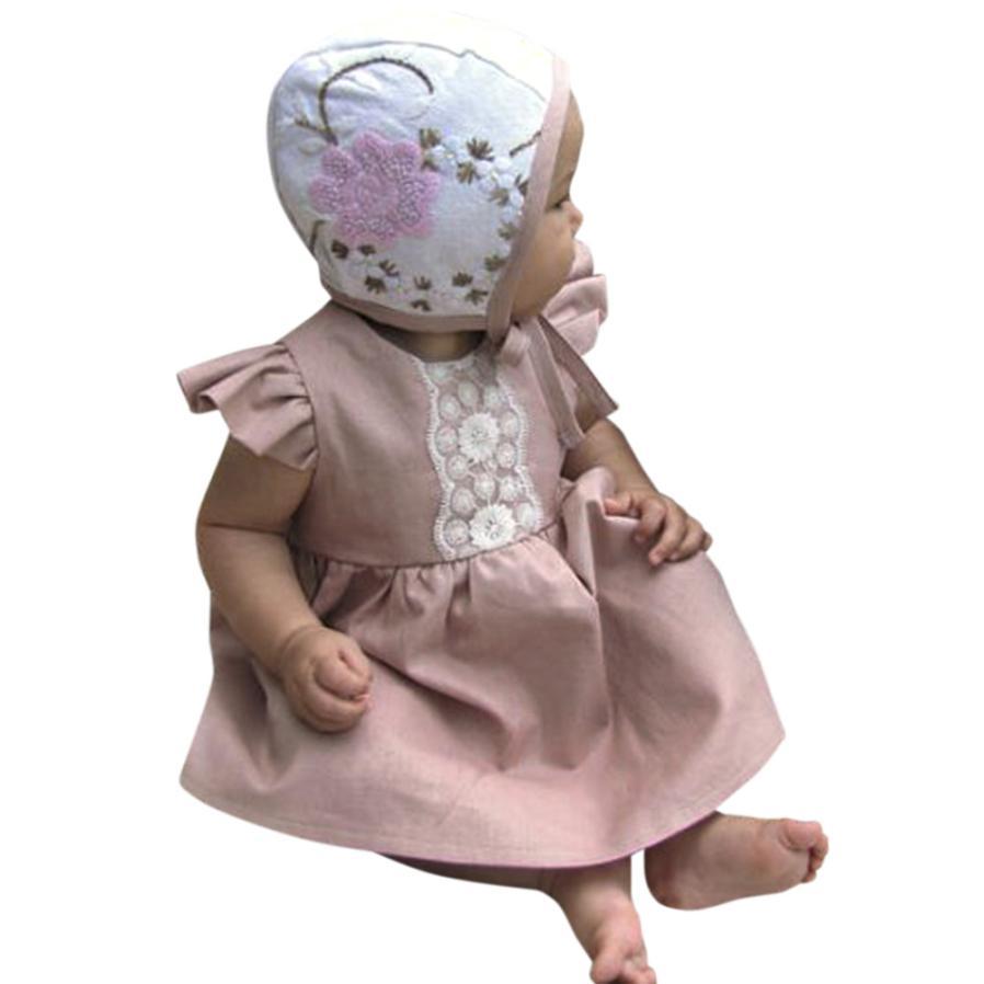 Girls Dress Summer Cotton Solid Short Dress Ruffles Sleeve BabyGirls Lace Princess Dress Casual 18Apr2