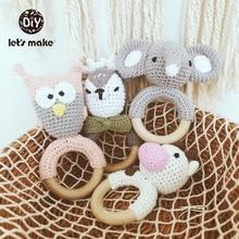 Купить с кэшбэком Baby Toys 1pc Wooden Teether Crochet Pattern Rattle Elephant Bell Toy Newborn Montessori Teether Knitted Rattles Gift Let's Make