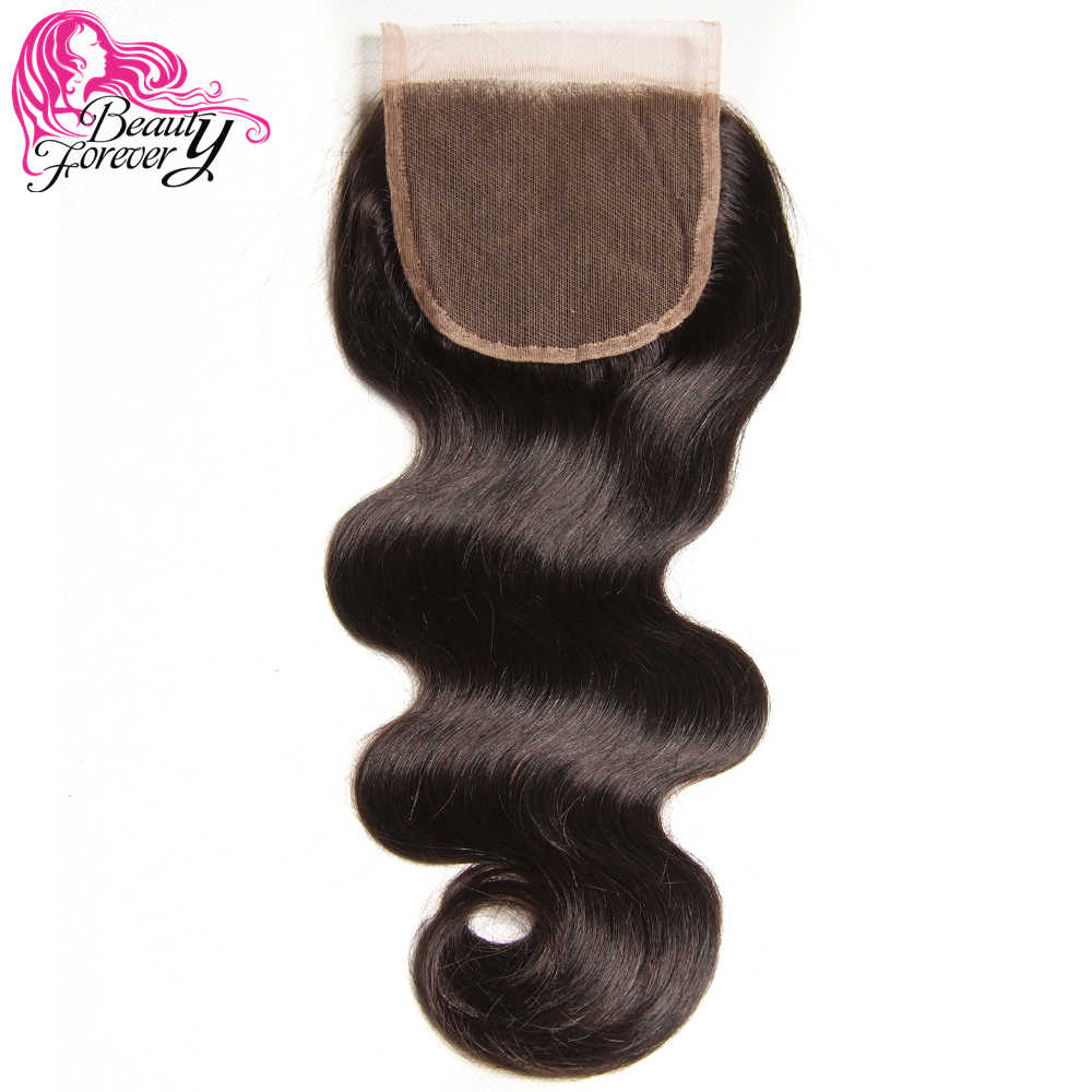 Beauty Forever 4*4 Lace Closure Brazilian Body Wave Human Hair 100% Remy Free Part 120% Density Natural Color 10-20 inch