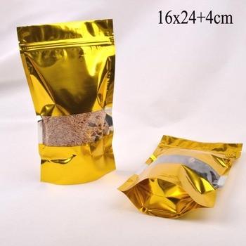 200PCS 16*24+4cm Stand up gold Aluminium foil Zip Lock bag,6.3''*9.4''Window gold plastic pouches zipper food stroage Bag