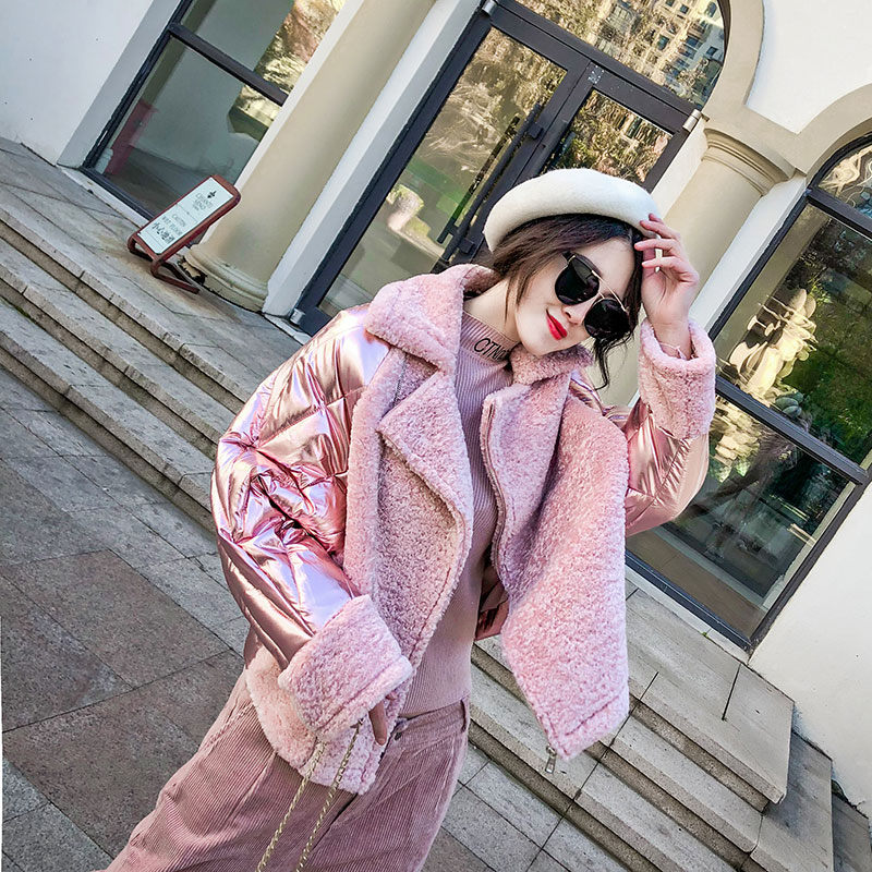 2018 Women's Glossy Winter Down Cotton Padded Jacket New Loose Short Pink Silver Patchwork Suede Warm   Parkas   AS9801