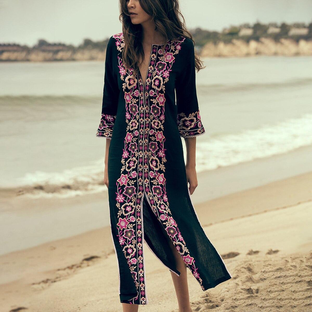 Jastie Floral brodé robe Midi tunique classique caftan femmes robes Sexy fentes latérales été plage robe Boho Chic robes
