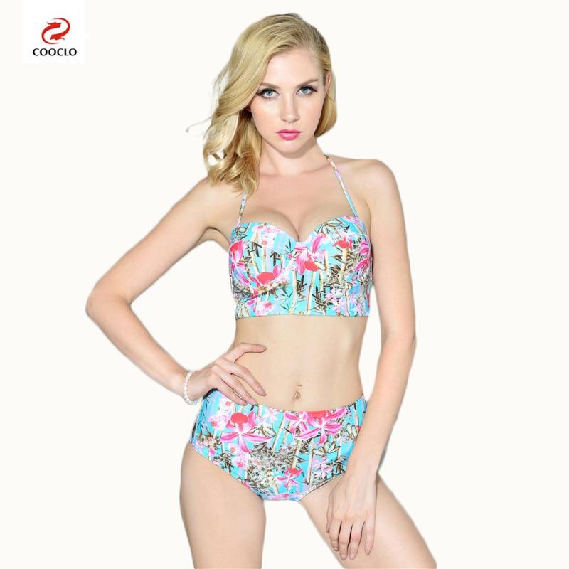 2019 Cooclo Sexy Floral Printed Summer Beach Bathing Suit Push Up Swimsuits Women Swimwear Bikini Sets High Waist Beach Swimwear