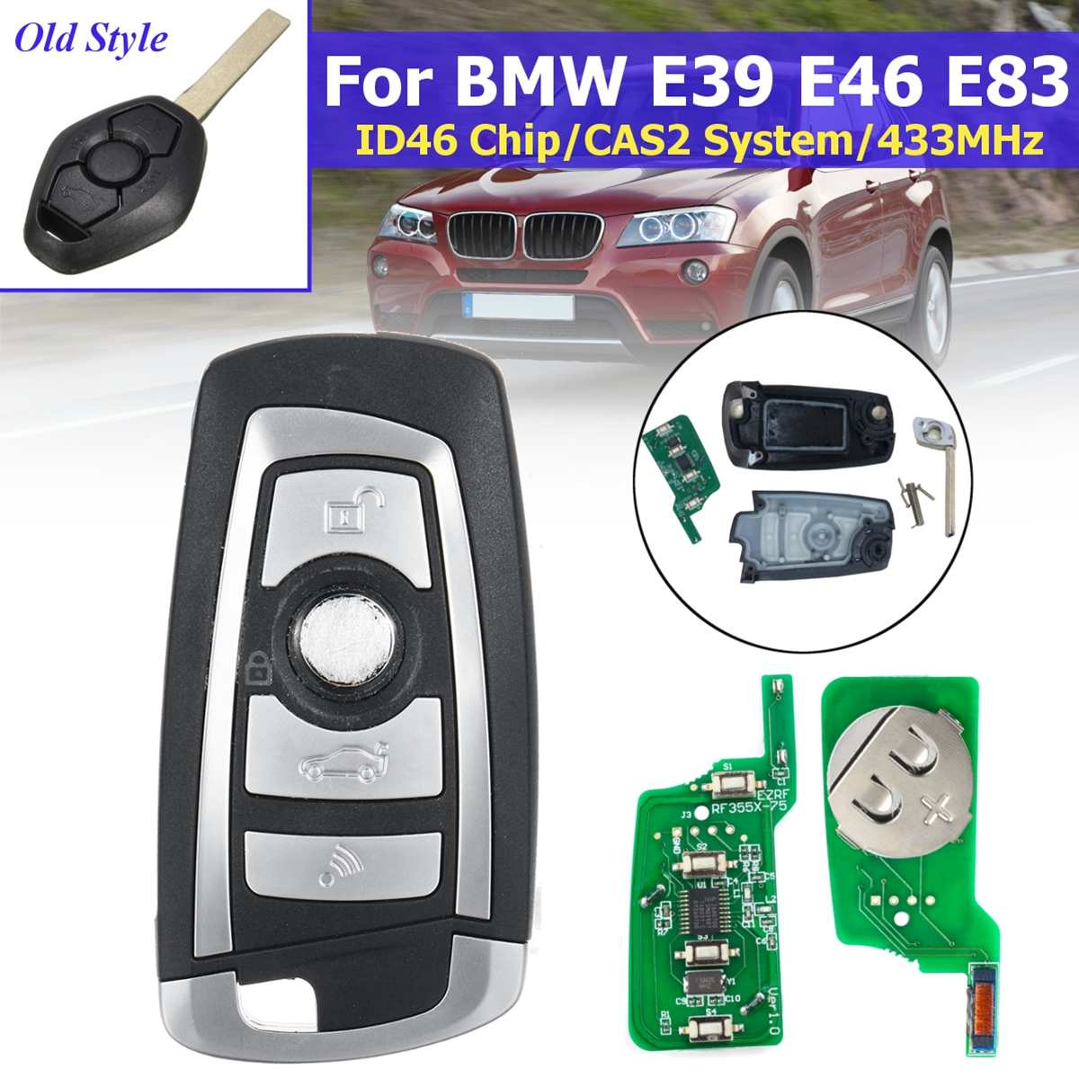 315MHz/433MHz Remote Flip <font><b>Key</b></font> with ID46 Chip CAS2 System HU92 Blade 4 Buttons For <font><b>BMW</b></font> E39 E46 <font><b>E83</b></font> X5 X3 Z3 image