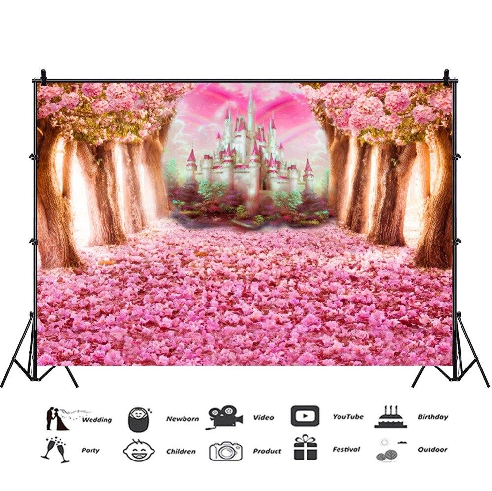 Laeacco Pohádka Lesní strom Květiny Hrad Rainbow Fotografie - Videokamery a fotoaparáty - Fotografie 4