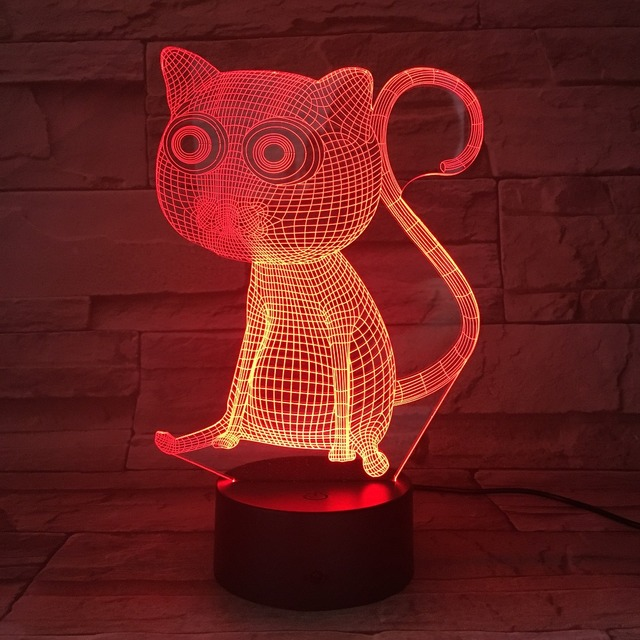 3D Illusion Lamp Cat Methacrylate Plate LED Night Light 7 Colors Changing  Luminaria De Mesa Creative