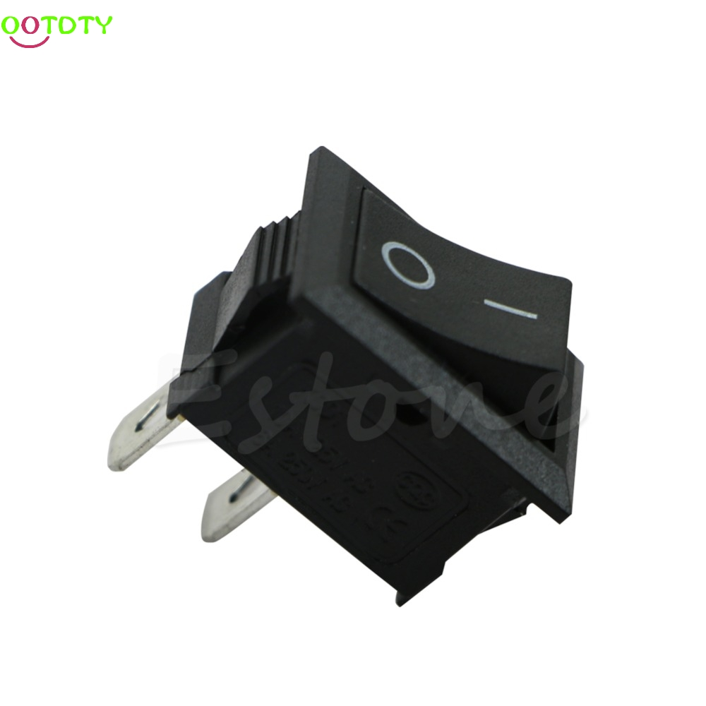 1PC 250V 3A Mini Boat Rocker Switch SPST ON-OFF KCD1-2Pin Black Plastic Button  828 Promotion 10pcs ac 250v 3a 2 pin on off i o spst snap in mini boat rocker switch 10 15mm