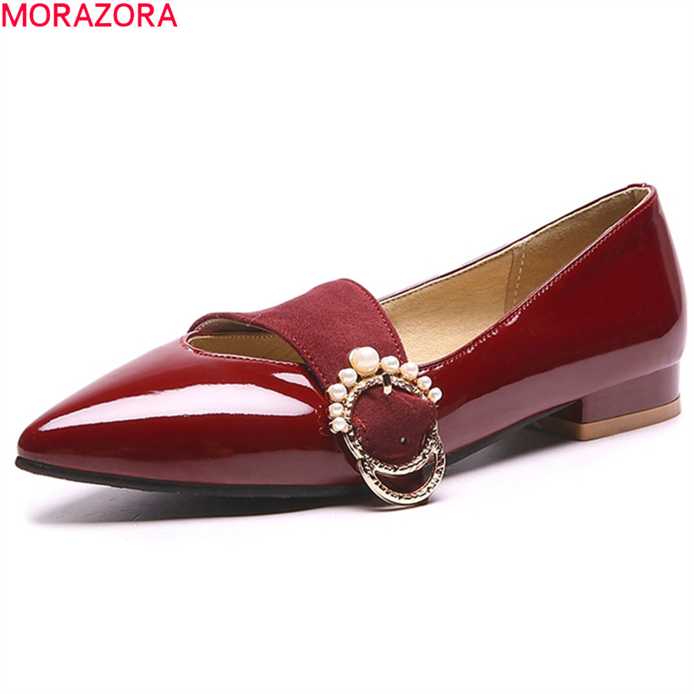 MORAZORA black wine red fashion spring autumn flat shoes woman pointed toe shallow casual women flats big size 33-44 women flats casual shoes 2017 summer sandals pointed toe fashion shallow rivet flower flat shoes woman loafers cool comfortable