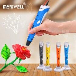 Myriwell 3d długopis długopis z nadrukiem 3d rp-100a pióro do rysowania z 20 kolorów ABS filamenty 3 D długopis bezpłatny wzór i stojak na długopisy szybka wysyłka