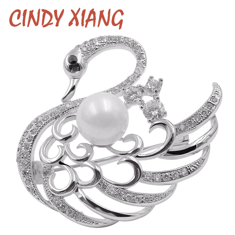 CINDY XIANG AAA Cubic Zirconia Swan Brooches for Women Cute Animal Brooch Pin Dress Coat Acessories Fashion Jewelry Bijouterie