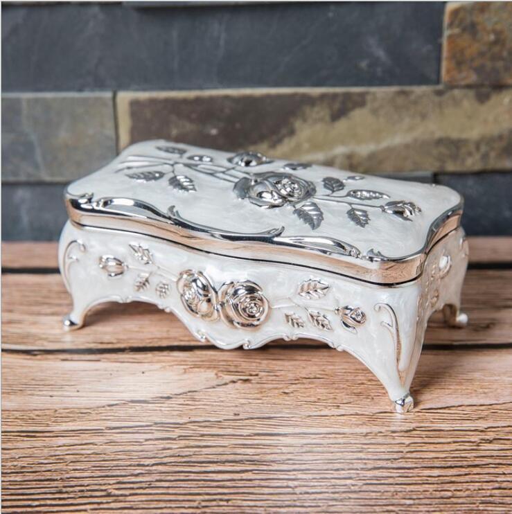 Rosie Posie Vintage Metal  Floral Jewelry Box Flower Rhinestone Jewelry Box 4 footed Trinket Box Embellished