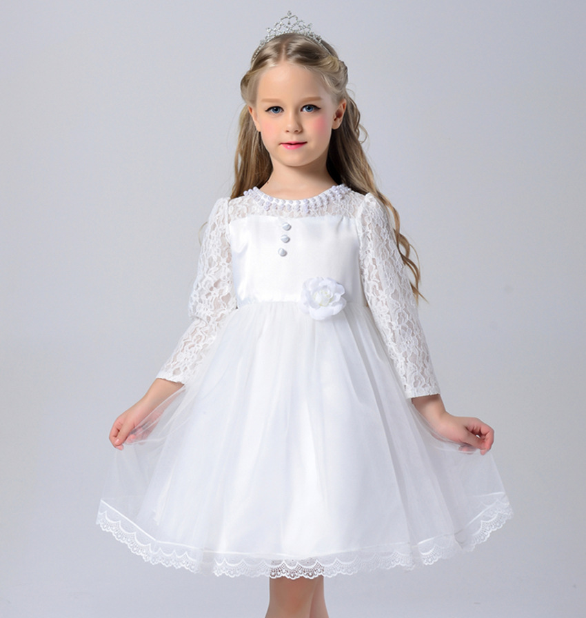 2017 Elegant Party Wedding Dress Little Girls White Yarn Princess Dress with A Big Bowknot on The Back women s fashionable fluffy strapless yarn wedding dress white size l