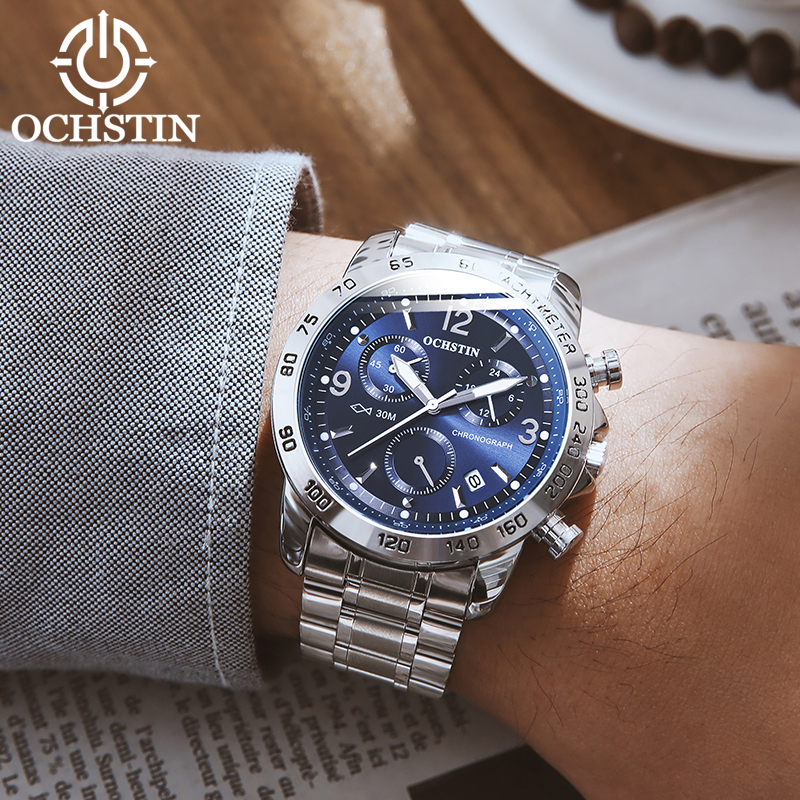 OCHSTIN Men Watch Band Casual Wrist Hand Watch Waterproof Chronograph Quartz Black Male Date Steel Strap Clock
