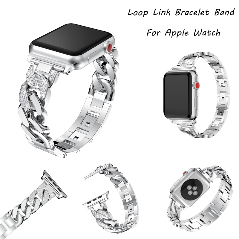 Women Diamond link Bracelet Band For Apple Watch Band 44mm 40mm 42mm 38mm Cowboy Chains Strap For iwatch 4 3 2 1 Wrist Watchband in Watchbands from Watches