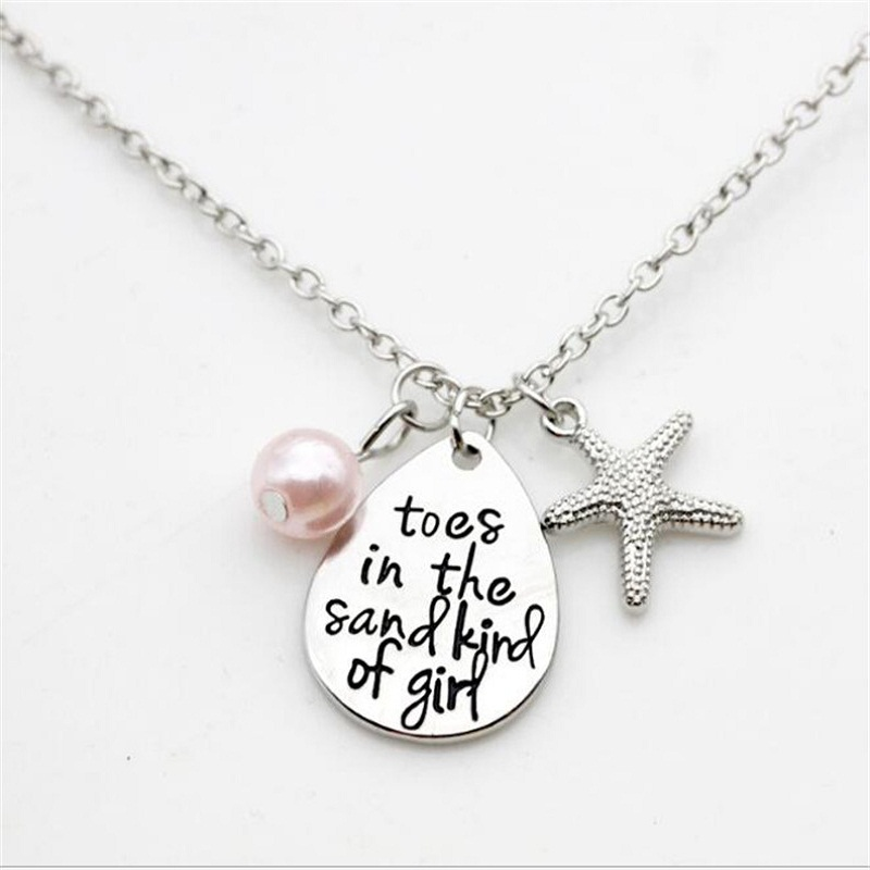 1PC Alloy Silver Statement Necklace Toes in the Sand Kind of Girl Pendant Necklace Hand Stamped Jewelry Inspirational Jewelry