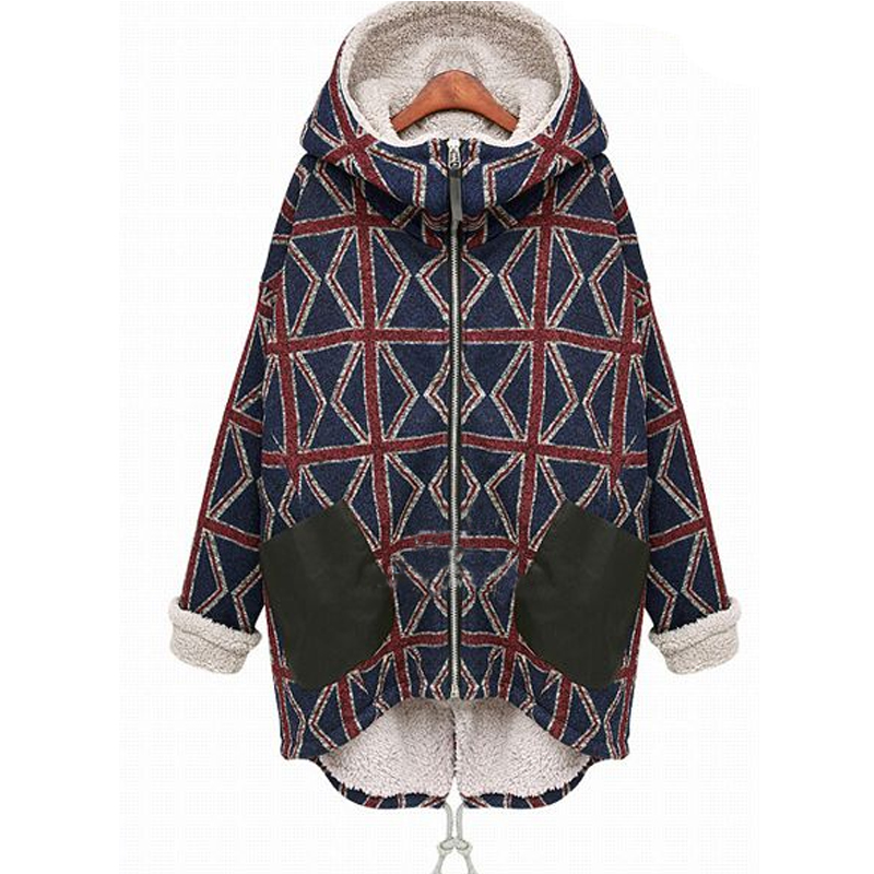 2019 Plus Size M- 5XL Fashion Winter Women   Parkas   European Style Casual Geometric Bomber Jacket Thick Long Ladies Basic Coat