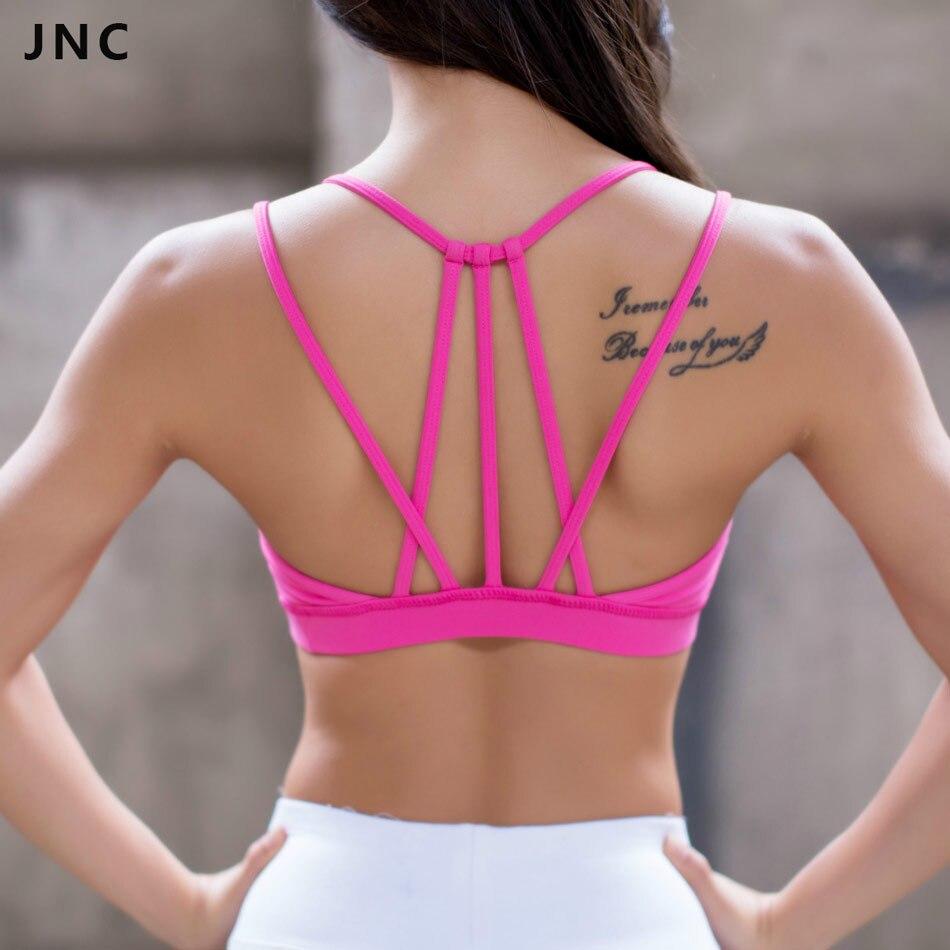 671be81608 JNC Womens Sexy Strappy Yoga Sports Bra Black Hot pink Crisscross Padded Push  Up Racerback Sport Bras Top S M L