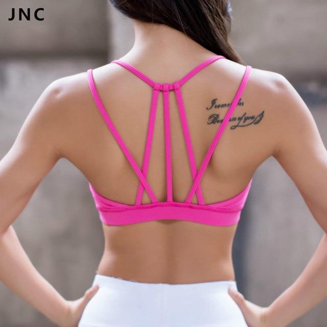 efb83e5f71576c JNC Womens Sexy Strappy Yoga Sports Bra Black Hot pink Crisscross Padded  Push Up Racerback Sport Bras Top S M L