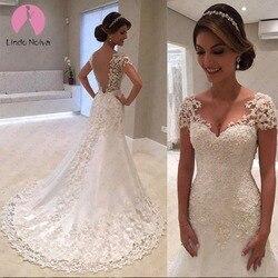 Vestido De Noiva Backless Mermaid Wedding Dresses 2019 Short Sleeves Lace Simple Wedding Dress Bride Robe De Mariee Casamento 1