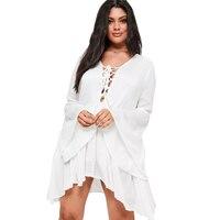 Plus Size Deep V Neck Hollow Out Ruffles White Dress Women Flare Sleeve Ruffle Hem Dress