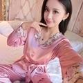 Mulheres Rendas de Seda Sleepwear Conjuntos de Pijama de Cetim Primavera Outono Longo-sleeved Pijama Lazer Loungewear Conjunto Champanhe