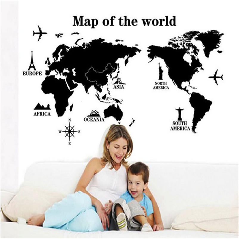 DIY World Map Removable Vinyl Quote Art Wall Sticker Decal Mural Decor High Quality Hot Sale Wholesale ,Jan 4