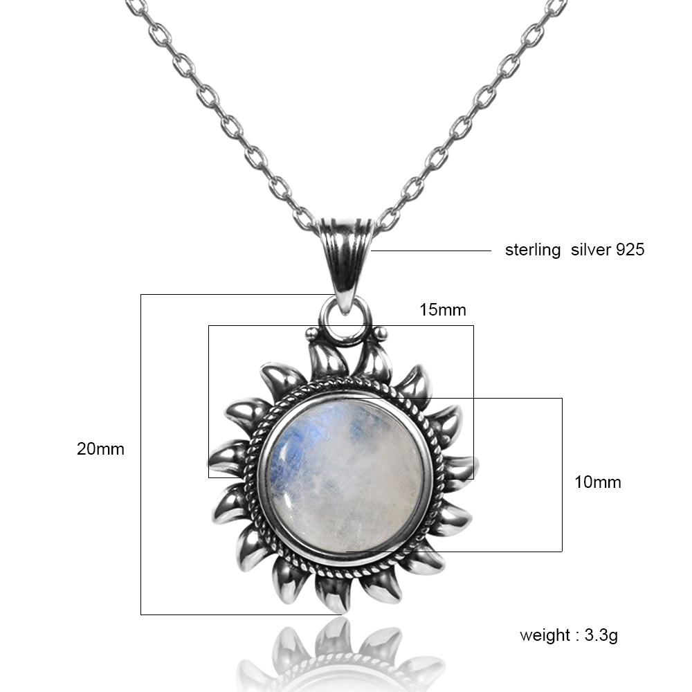 HTB1q4sIatzvK1RkSnfoq6zMwVXa3 Natural Moonstone 925 silver jewelry Pendants Necklaces For Women Men Sun Geometric Shape Vintage Fashion Woman Pendants Hotsale
