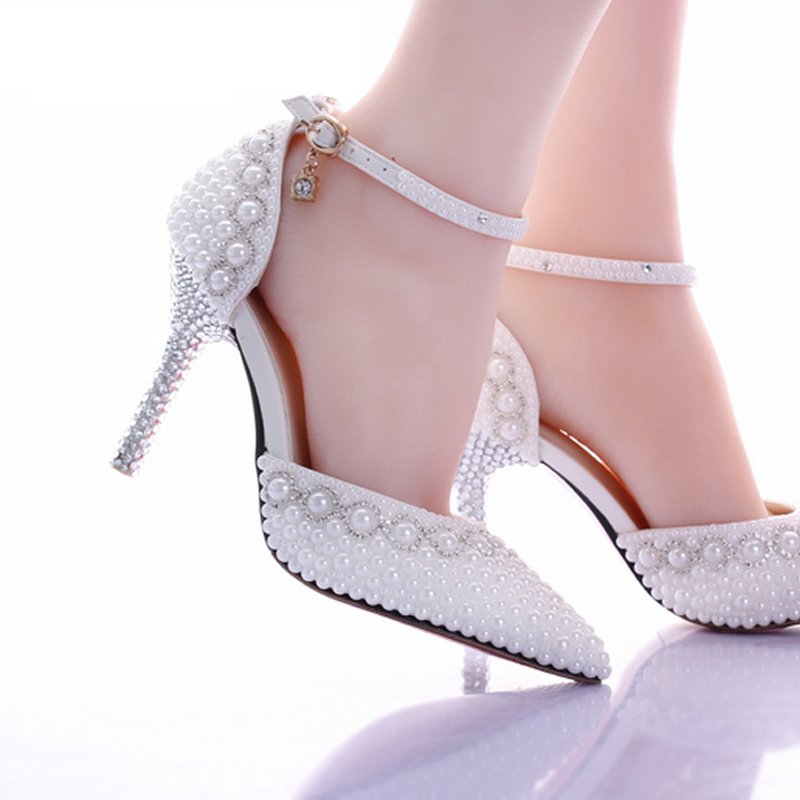 2017 New White Pearl Diamond Wedding Shoes High Heels Bride Dress Shoes Show Party Sandals Two Pieces Women's Pumps Thin Heels-in Women's Pumps from Shoes    3