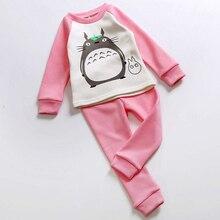 2016 Winter New Girls Cotton Cartoon Pajamas Suit For 2-7Years Children Totoro Nightgown Pyjamas Cute Kids Christmas Pijamas