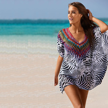 Tribal imprimir blusas 2016 Beach Túnica Sexy Pareo encubrimientos del traje de Baño Cover Up Mujeres cover up blusa Verano de Las Mujeres más el tamaño