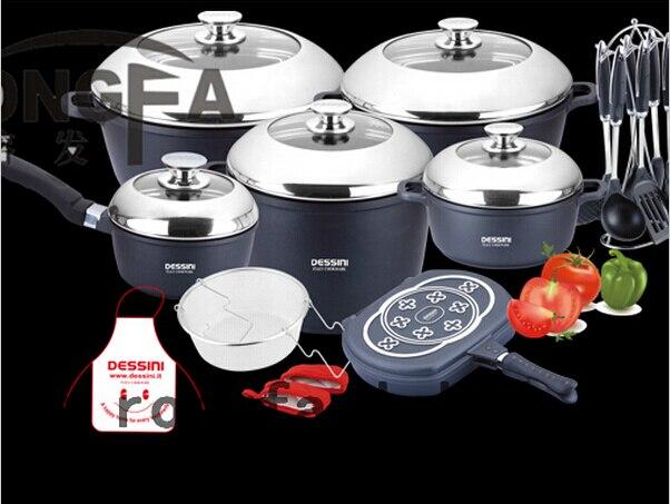 Бесплатная доставка 22 шт./компл. набор посуды panela антипригарный горшок литой набор алюминиевой посуды Кастрюля Сковорода сковорода кухонна