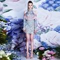 Embroidery Dress Женщины 2016 Марка Элегантный Новая Мода Синий Кистями Длинный Рукав Bodycon Dress Повседневная Одежда