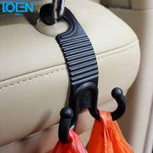 LOEN 2pc Claw shape Auto Fastener Clip Car Seat back Hook Cargo Trunk Bag Hook Holder Hanger Black for toyota bmw honda hyundai