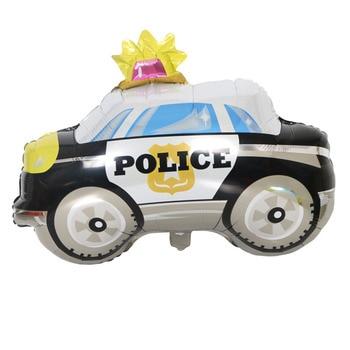 Crear Globos de papel de aluminio de autobús de policía suministro de ducha de bebé decoración de cumpleaños de niño coche para niños TrainTank Globos