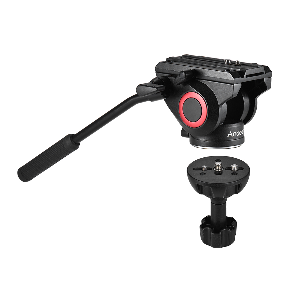 Andoer Lightweight Three dimensional Tripod Head 360 Panoramic Shooting with 75mm Half Ball Flat to Bowl