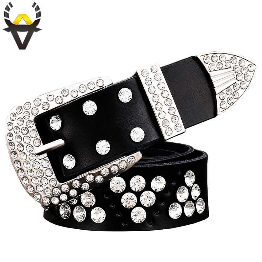 Fashion designer   belts   for women High quality genuine leather   belt   men Luxury rhinestone Unisex waist strap Second layer cowskin