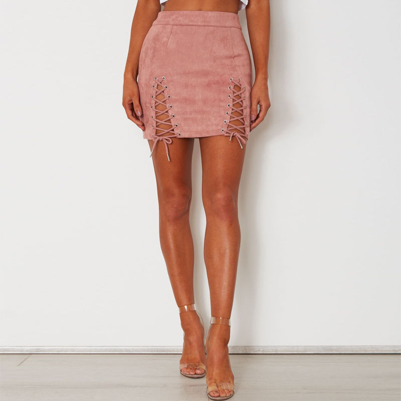 Sexy Women Skirt High Waist Hollow Bandage Lace Up Faux Suede Party Short Mini Skirts 2017 Summer Fashion