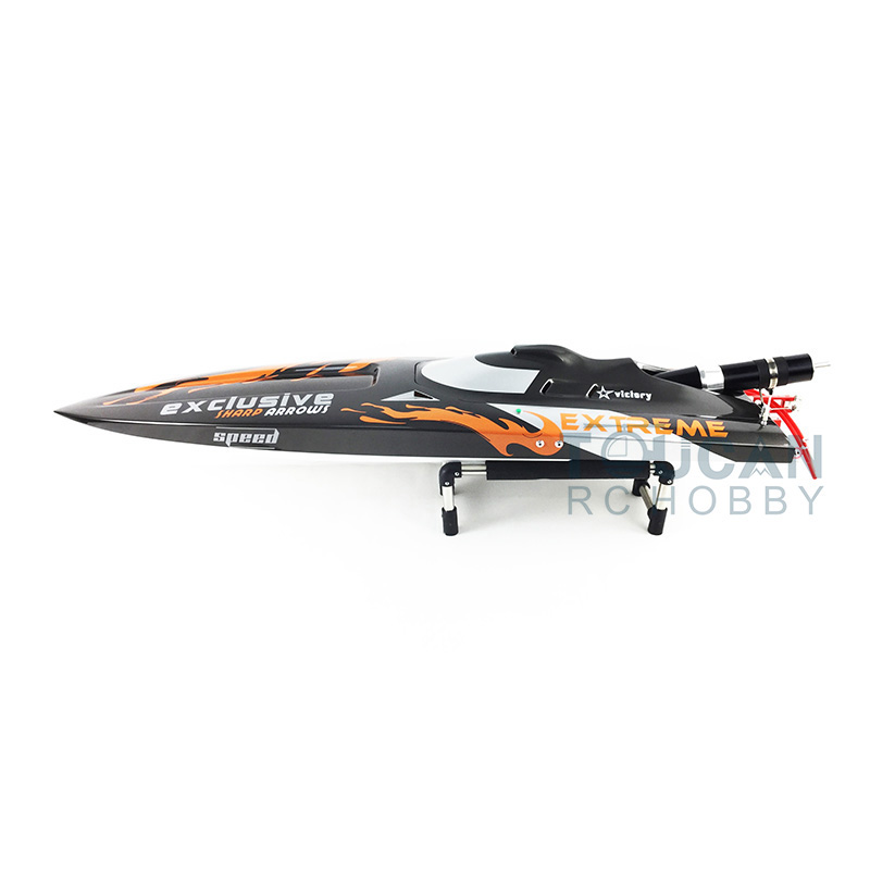 G30D ARTR Fiberglass RC Monohull Boat 30CC Engine WaterCoolingSys Grey with Orange Flames aluminum water cool flange fits 26 29cc qj zenoah rcmk cy gas engine for rc boat