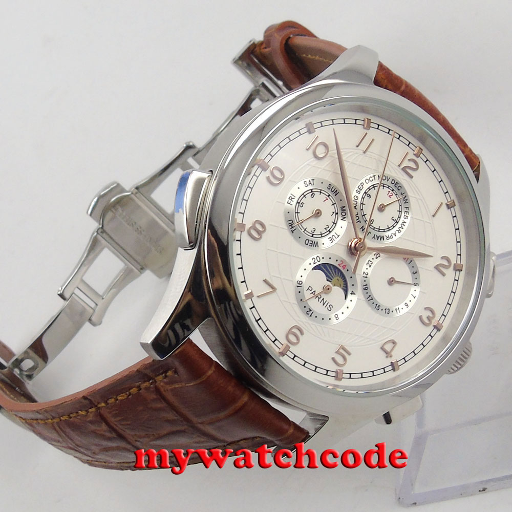 44mm parnis white dial day date Moon Phase gold marks automatic mens watch P18B