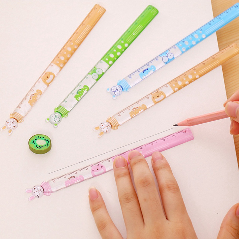 2 PCS/Lot Love Mini Ruler Learning A Good Helper 15 Cm Children's Favorite Cartoon Straight Ruler Study Measure Stationery