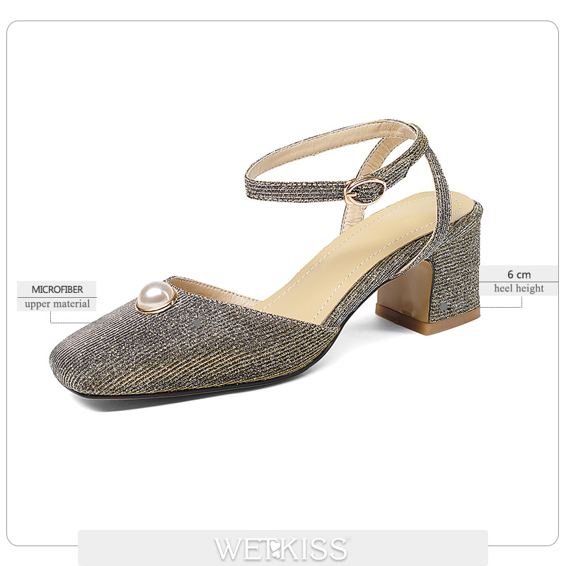 Bureau Sandales Carré Nouvelle Chaussures Épais Bout Grande Talons Sangle Mode Taille 2018 jaune Perle Wetkiss Arrière Femmes Haute Noir D'été rouge XgOqFXn0A
