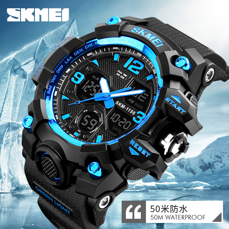 SKMEI Sport Quartz Watch Dual Display Analog Digital LED Outdoor Waterproof Military Watches Men Chronograph Wristwatches skmei 1049 50m waterproof solar dual movement dual time zone men s sport watch black blue