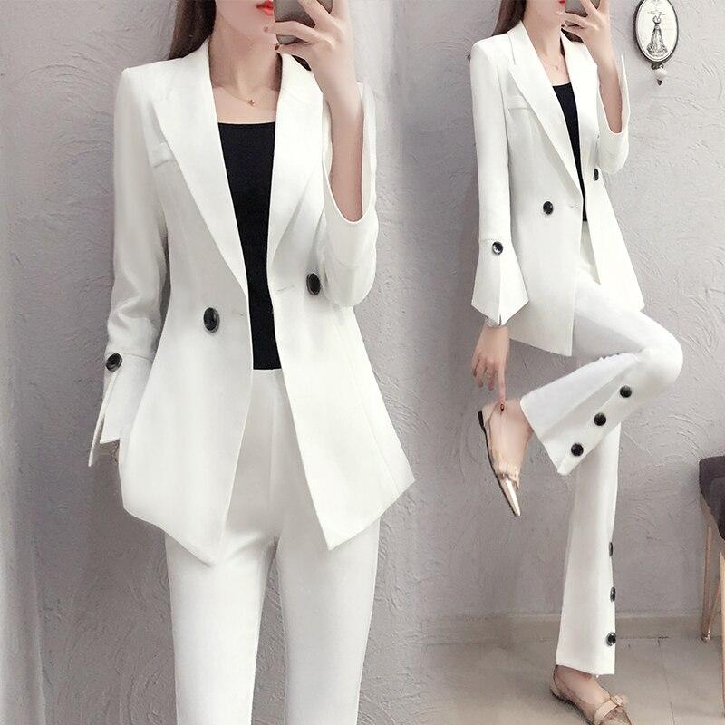 2018 printemps nouvelle mode Slim blanc costume tempérament évasé pantalon deux ensembles