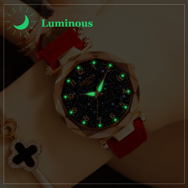 Fashion Women Watches 2019 Best Sell Star Sky Dial Clock  2